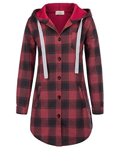 Women's Button Down Plaids Hooded Shirt Buffalo Check Jackets XL Red
