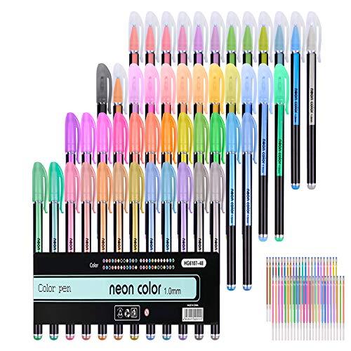 Paquete de 96 bolígrafos de gel para libros de colorear para adultos, 48 bolígrafos de gel únicos más 48 recambios para colorear libros de dibujo para adultos
