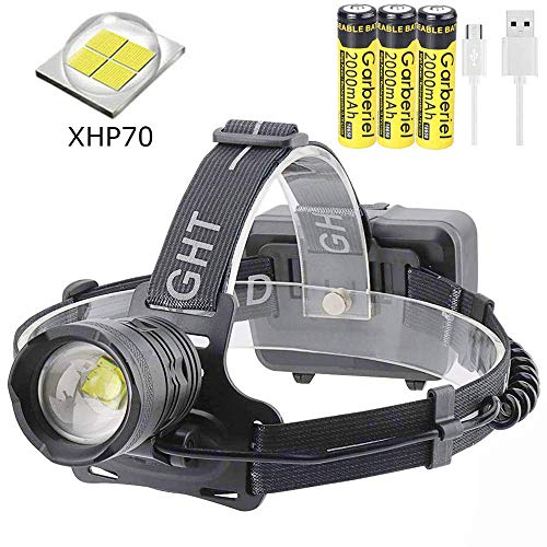Linterna frontal LED XHP70 super brillante 10000 lúmenes linterna frontal recargable con batería, 3 modos Zoomable Impermeable 90° Giratorio Faro para Camping, Correr, Pesca, Trabajo