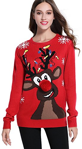 daisysboutique Women's Christmas Reindeer Themed Knitted Holiday Sweater Girl Pullover (Small, Lighting)