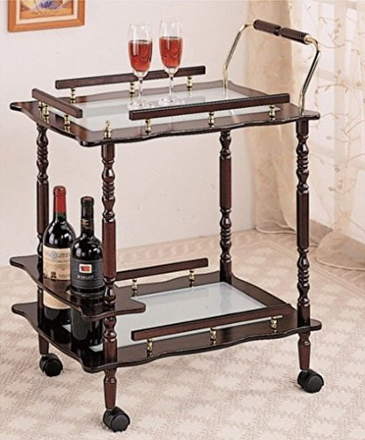 2-Tier Serving Cart, Cherry Wood Finish, Glass Top