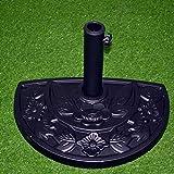 TX Support à Parasol Demi-Rond, pour des Barres de 34-48 mm, résistant aux intempéries, Design à Fleurs, Noir