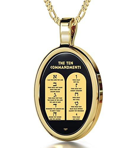 Bibelschmuck - 14k Gold Kette mit religiösem Anhänger der 10 Gebote Gottes in 24k (999) Gold auf oval geschliffenen Onyx geprägt - Geschenkidee für Christen