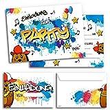 12x Geburtstagseinladungen mit Umschlägen | Graffiti-Party | Einladungskarten für Kindergeburtstag | Für Jungen & Mädchen | Einladungen Geburtstag Kinder Junge Partyeinladung Einladung Jungs bunt Cool