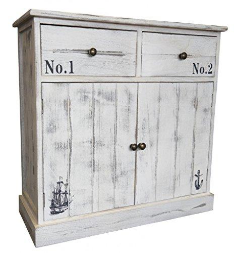 elbmöbel Kommode Schrank 70x70x30cm mit 2 Schubladen weiß Landhaus Shabby Vintage Sideboard 2 Tür