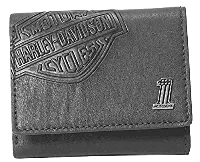 Harley-Davidson Mens Bar & Shield Classic Trifold Wallet, Black CR2352L-Black