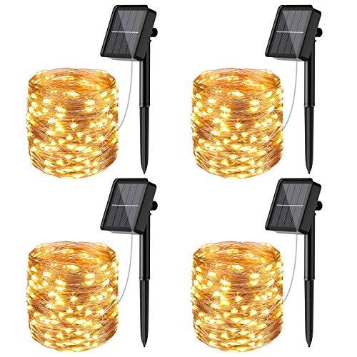 [4 Pacchi] Catena Luminosa Esterno Solare, Litogo 56m 480 LED Luci Solari Esterno 8 Modalità Impermeabili Filo di Rame Luci Lucine da Esterno per Giardino, Natale, Patio, Cancello, Matrimonio, Festa