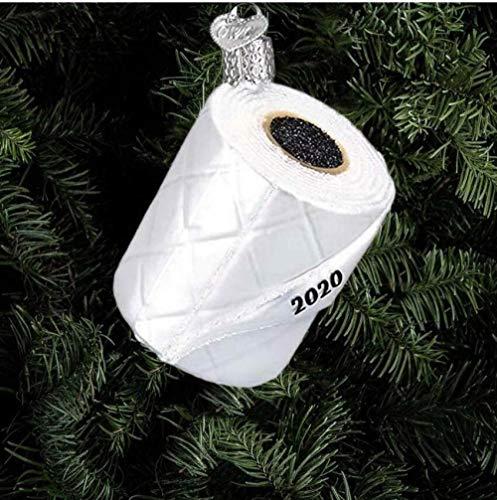 JIACHIHH Papel HigiéNico 2020 Adornos De Vidrio Caja Colgante áRbol De Navidad DecoracióN Tridimensional Rollo De Papel Resina