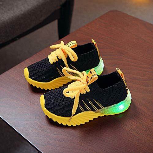 LED Sport Schuhe für Kinder,Candy Farbe LED Licht Lampe Freizeitschuhe Sportschuhe Helle Helle Schuhe,Mädchen Jungen Sneakers Laufschuhe Turnschuhe Blinkschuhe Schuhe Für Mädchen (Schwarz, 23)