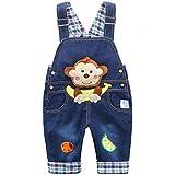 Bebé Niños Niñas Peto Vaquero Overalls Mono Largo Pantalón Elegante Azul con Patrón Animal - 90