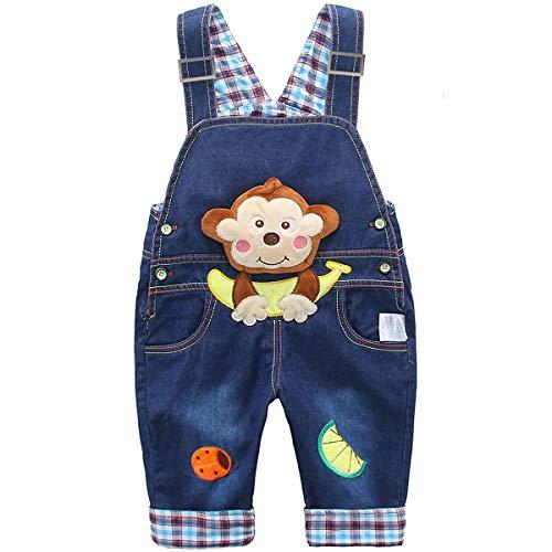 DEBAIJIA Baby Jungen Mädchen Denim Latzhose Kleinkind Hosenträger Jeans Overall AFFE mit Banane Herstellergr.73 - Deutsche Gr.68/74