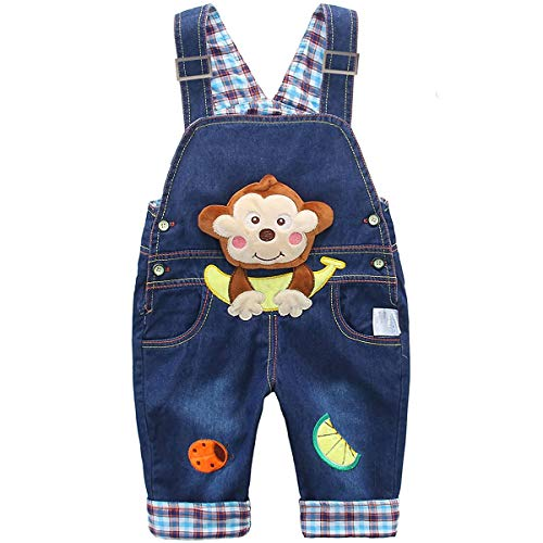 DEBAIJIA Baby Jungen Mädchen Denim Latzhose Kleinkind Hosenträger Jeans Overall AFFE mit Banane Herstellergr.90 - Deutsche Gr.86/92