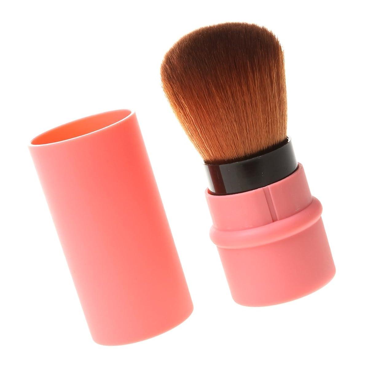 意志宇宙の方法DYNWAVE 旅行リトラクタブルチークブラシ パウダーシャドウブラシ顔 メイクアップ ピンク 全2色 - 赤