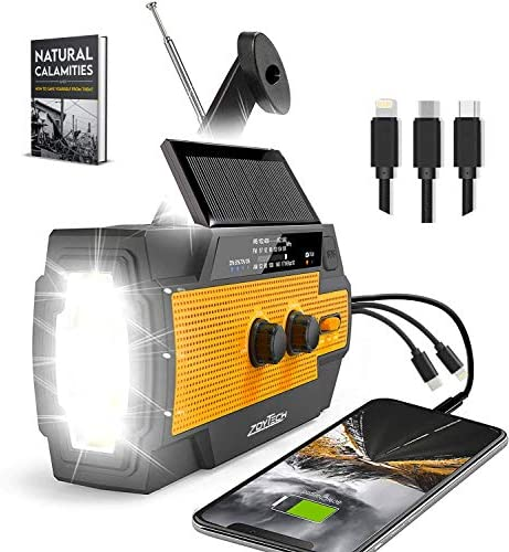 2021 Upgraded Emergency Weather Radio Portable Flashlight Solar Radio AM FM NOAA by ZoyTech product image