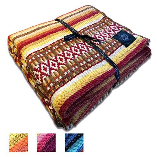 Craft Story Decke Carlota I rot-braun-gelb-weiß-orange gestreift aus 100% Baumwolle I Tagesdecke I Sofa-Decke I Couch-Überwurf I Bedspread I Plaid I 140 x 210cm