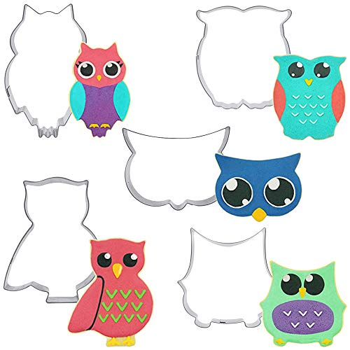 Owl Cookie Cutter Set of 5 Different Owl Cookie Cutters Shapes for Candy Fondant Sugar Cutters Molds by Shxstore