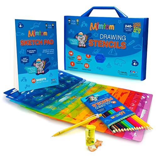 Mimtom Malschablonen-Set für Kinder und Jungen | 51-teiliges Schablonenset mit über 240 Formen, um die Kreativität Ihres Kindes zu entfesseln | Kindersicheres Spielzeug für Kinder ab 4 Jahren