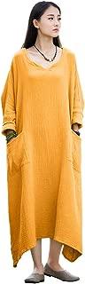 Soojun Women's Casual Cotton Linen Long Dress with Batwing Sleeve