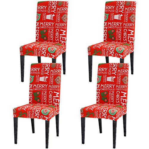 Ogrmar 4PCS Stretch Removable Washable Dining Room Chair Protector Slipcovers Christmas Decoration/Home Decor Dining Room Seat Cover (Christmas-A) (Vermilion)