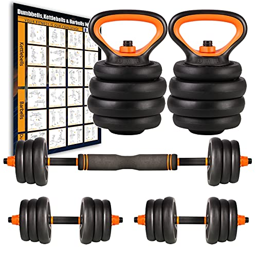 Amazon Brand – Umi Juego de Mancuernas Kettlebell y Barra de musculación con Discos 40 kg Cada Unidad