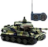 AZALLY German Tiger I Panzer RC Tank with Remote Control, Battery, Light, Sound, Rotating Turret and Recoil Action When Cannon Artillery Shoots, Mini 1:72 Scale, Assorted Color