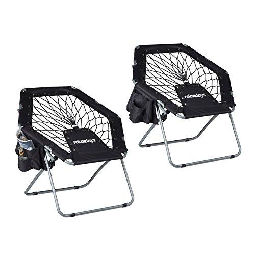 Relaxdays 2X Bungee Stuhl Webster, Trampolinstuhl, elastisch, Federung, faltbar, bis 100 kg, Seitentasche, Klappstuhl, schwarz