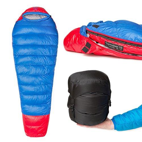 Paria Outdoor Products Saco de Dormir Tipo Momia Thermodown, a 15 Grados - Clima frío Ultraligero, Bolsa para 3 Estaciones Camping y Viajes de mochileros (Regular)
