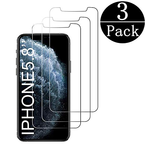 (3-Pack)Tempered Glass Screen Protector Compatible Apple iPhone 11 Pro[5.8Inch], iPhone XS/X,9H Hardness, Bubble-Free,Shatter-Proof,Free Installation Frame,Case-Friendly Screen Protector