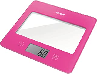 Sencor SKS5028RS Ultra Slim Glass Digital Kitchen Scale with LED Display, Small, Pink