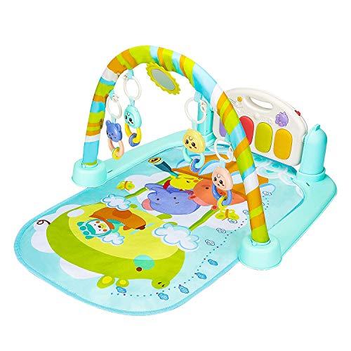Super-Life Baby Play Gym Kick and Play Mat Pasgeboren Activiteit Gym Lay & Play 3 in 1 Fitness Muziek en Lichten Leuke Piano zuigelingen en peuters Jongens Meisjes Blauw