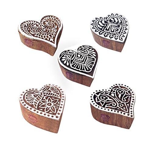 Stilvoll Entwürfe Herz und Blumen Holz Blöcke Stempel (Set von 5)