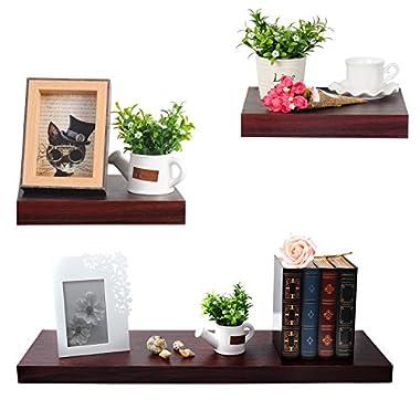 WOLTU Set of 3 Floating Wall Shelves Wood Ledges Display Shelf Set with Hidden Brackets, Dark Wood