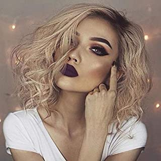 Ombre Blonde Wig Short Bob Lace Front Wigs Blonde Wavy Synthetic Hair Dark Roots Natural Curl Heat Safe Drag Wig Glueless Cap for Women Shoulder Length Fluffy Hair 16 Inch Wig