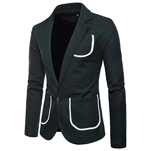 Zarupeng Heren Houndstooth Pak Casual Elegant 1-knops pak lange mouwen slim fit rooster blazer jas top