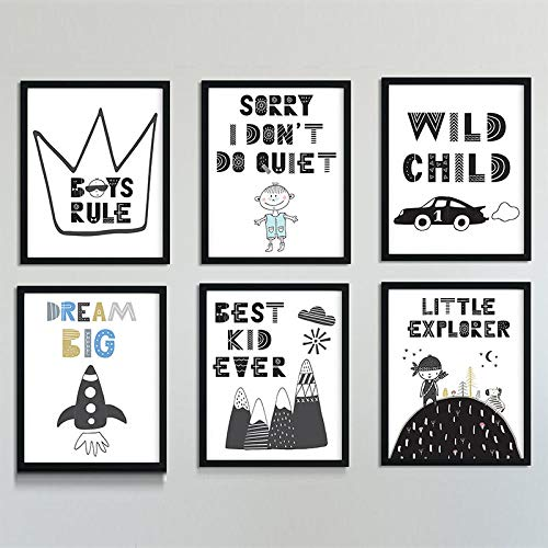 Avontuur kinderkamer muurkunst droom groot canvas schilderij zwarte posters en witte prints afbeeldingen voor woonkamer kinderkamer decoratie 40x50cmx6 zonder lijst