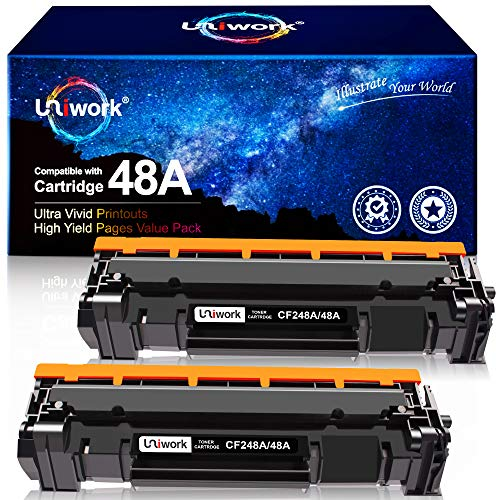 Uniwork Compatible Toner Cartridge Replacement for HP 48A CF248A use for Laserjet Pro M15w M29w M30w M31w MFP M28w M28a M29a M15a M16a M16w Printer Toner, 2 Black