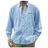 Subfamily Camisa de Hombres Corte Cuello Camisa de Planchado Sin Arrugas Manga Larga Clásico Slim Fit Seda de Algodón Elástica Casual Formal Negocio para Hombre Azul M