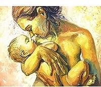 大人のためのナンバーキットによるDIYペイント初心者のためのキャンバス上のナンバーキットによるキッズペイント家の壁の装飾赤ちゃんを抱く母親40x50cm