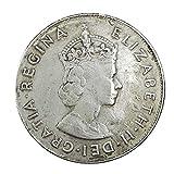 銀貨コレクション イギリスのエリザベス2世1959年の古い白い銅貨銀ドルの硬貨は直径38ミリメートルを吹くことができます