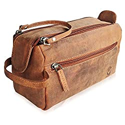 Leather Wash Bag for Men - Handcrafted Toiletry Bag for All Your Travel Toiletries Medium Brown