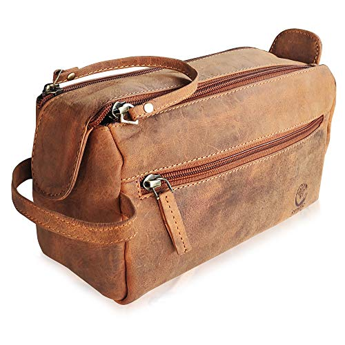 Leather Toiletry Bag for Men - Hygiene Organizer Travel Dopp Kit By Rustic Town (Brown)