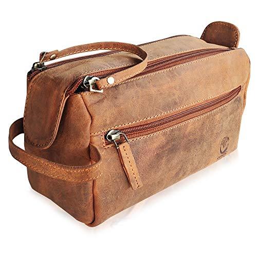 Rustic Town kulturtasche kulturbeutel Mann | Leather Toiletry Bag | Leder Kosmetiktasche Waschtasche Reise-Tasche für Herren (Braun)