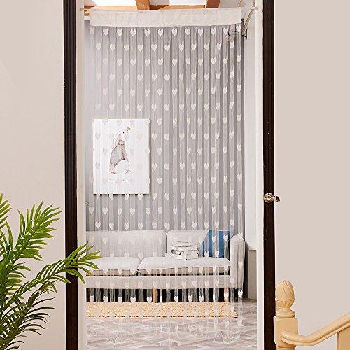 FeiliandaJJ 50x200cm Love Heart String Vorhänge Tür Fenster Atmungsaktiv Waschbar Gardinen Vorhänge Wohnzimmer Schlafzimmer Kinderzimmer Modern Haus Dekoration (Weiß)