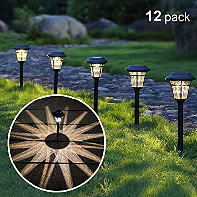 MAGGIFT 12 Pack Solar Pathway Lights Outdoor Solar Garden Lights for Patio, Yard, Driveway