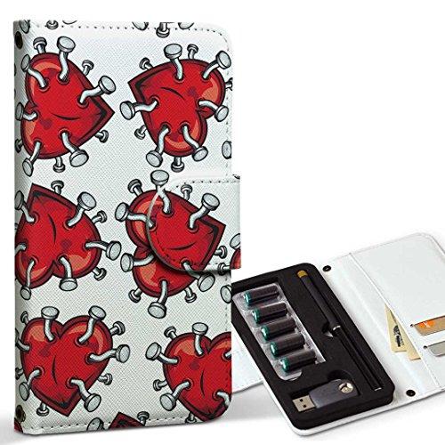 スマコレ ploom TECH プルームテック 専用 レザーケース 手帳型 タバコ ケース カバー 合皮 ケース カバー 収納 プルームケース デザイン 革 ハート 釘 赤 011675