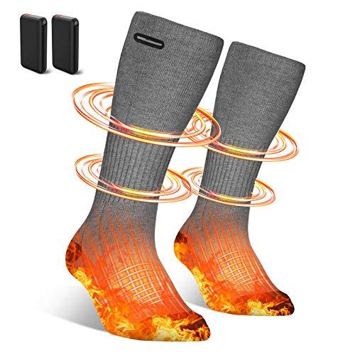 Beheizbare Socken Herren Damen,4500mAh Elektrische Beheizte Socken,Elektrische Wiederaufladbare Batterie Thermische Socken mit 3 Dateien Einstellbarer Temperatur für Skifahren/Motorradfahren/Jagd