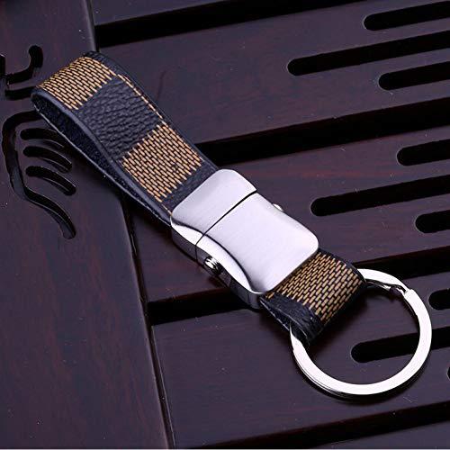LWYLBP Frauen Männer Schlüsselanhänger Klassisches Leder Auto Schlüsselhalter Tasche Anhänger Bester Geschenkschmuck Hochwertige Qualität-Yellow Striped