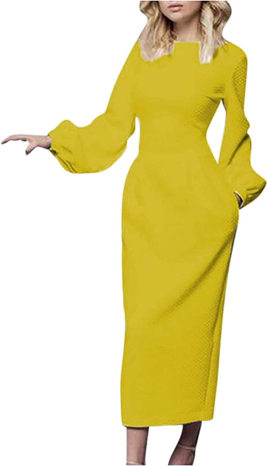 BIrty Autumn Womens Loose Casual Round Neck Solid Color Short Sleeve Long Maxi Dress