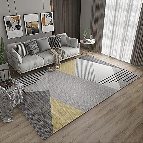 AU-SHTANG alfombras Grandes Baratas Infantiles Patrón de Raya geométrica Gris, fácil de Lavar el sofá Sound Balcony Carpet alfombras Dormitorio Matrimonio -Gris_100x200cm
