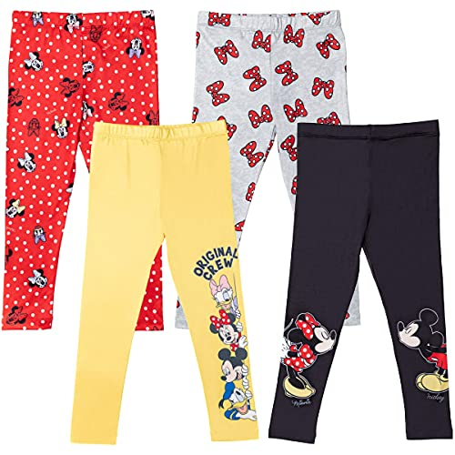 Disney Minnie Mouse Toddler Girls 4 Pack Leggings Red/Black/Yellow